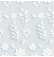 seamless pattern daisy with leaves on gray backgro vector image vector image