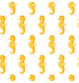 seamless pattern with cute yellow sea horse on vector image vector image