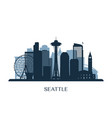 seattle skyline monochrome silhouette vector image vector image