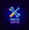 service center neon label vector image