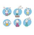 set of cute cartoon bunny vector image vector image