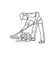 sketch farmer man with rake weeding vector image