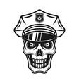 skull in police cap vintage vector image vector image