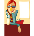 Stylish young man wearing a scarf and goggles sitt vector image vector image