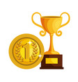 trophy cup with coin award icon vector image vector image