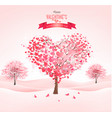 valentines day landscape with heart shaped trees vector image