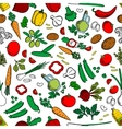 Vegetable ingredients seamless background vector image