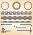 vintage floral pattern elements set vector image vector image