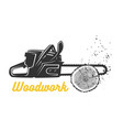 woodworking chainsaw logo template vector image vector image