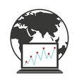 world planet with statistical graphic vector image vector image