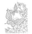Zentangle stylized butterflies and sakura flower vector image vector image