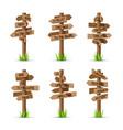 wooden arrow signboards direction set vector image