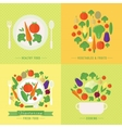 banners card with fresh fruits and vector image