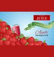 apple juice in glass background banner vector image vector image