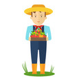 apple picking farmer man in the garden with boxes vector image vector image