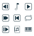 audio icons set with forward music next song vector image