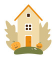 autumn landscape with wooden house pumpkins vector image