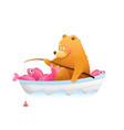 baby bear cub fishing with rod big catch cartoon vector image vector image