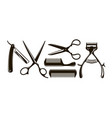 barbershop items such as scissors comb razor vector image vector image