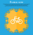Bicycle icon sign Floral flat design on a blue vector image vector image