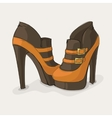 brown and yellow ankle boots vector image vector image