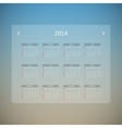 Calendar page for 2014 vector image vector image