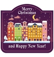 christmas card night house vector image vector image