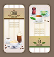 coffee and tea collection labels vector image vector image