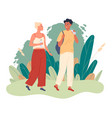 couple walks in park and they drink water vector image vector image