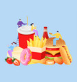 fastfood tiny people concept vector image vector image