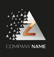 golden letter z logo in silver pixel triangle vector image vector image