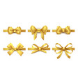 golden ribbon bow holiday gift decoration vector image vector image