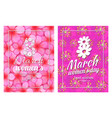 greeting card design 8 march womens day postcards vector image vector image