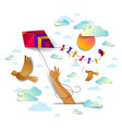 hand holding kite over cloudy sky birds flying vector image