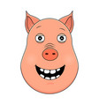 head of happy pig in cartoon style kawaii animal vector image vector image