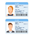id card women and men plastic identification vector image vector image