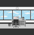 interior office room with desk and window with vector image vector image