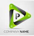 letter p logo symbol in the colorful triangle on vector image vector image