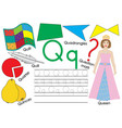 letter q learning english alphabet writing vector image vector image