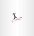 man on stairs success icon vector image vector image
