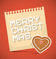 Merry Christmas Card with Gingerbread Heart and vector image