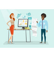 multiethnic business people giving presentation vector image vector image