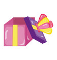 open present box with crown style vector image vector image