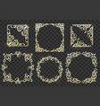 ornate frames set on transparent background vector image vector image