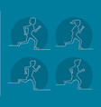 people running silhouette vector image