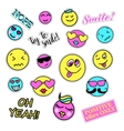 Pop art set with fashion patch badges Smiles vector image vector image