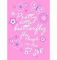 Pretty little butterfly with flowers embroidery vector image vector image