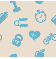 Seamless background with fitness symbols vector image vector image