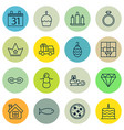 set of 16 celebration icons includes date vector image vector image