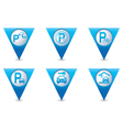 Set of 6 pointers parking BLUE triangular map vector image vector image